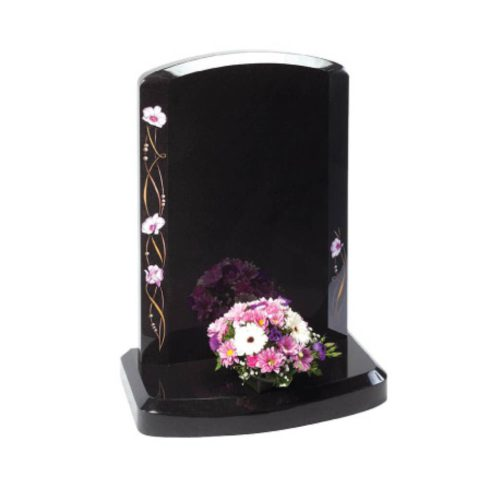 A contemporary shape and modern designs create a stylish look. The stylised Camerton orchid design winds up the broad chamfered sides of this elegant memorial.