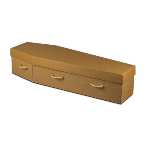 Cardboard coffin with rope handles. Also available in white.