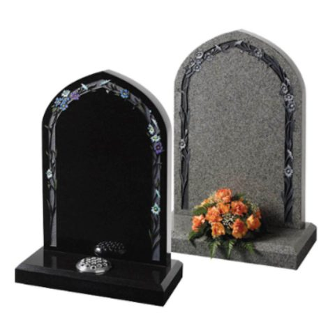 Fresh interpretation of the traditional gothic shaped memorial with a delicate floral border – Karin Grey or Black granite.
