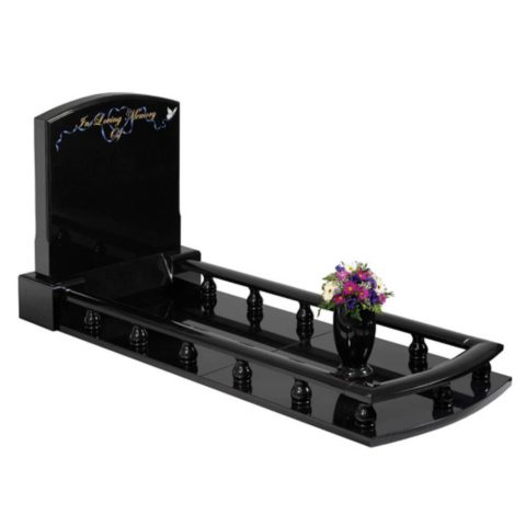 The Elegantly designed Black granite ballustrade set with a delicate flowing ornamental design.