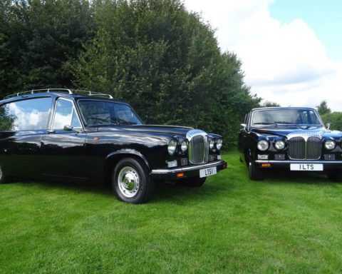 Our classic Daimler DS420 Hearse (By Thomas Startin of Birmingham) and matching Limousine offer traditional style with modern comforts. The hearse which was registered in 1993 is the last but one to be produced and has had only 2 owners from new. Our matching Limousine is able to seat up to 7 passengers.
