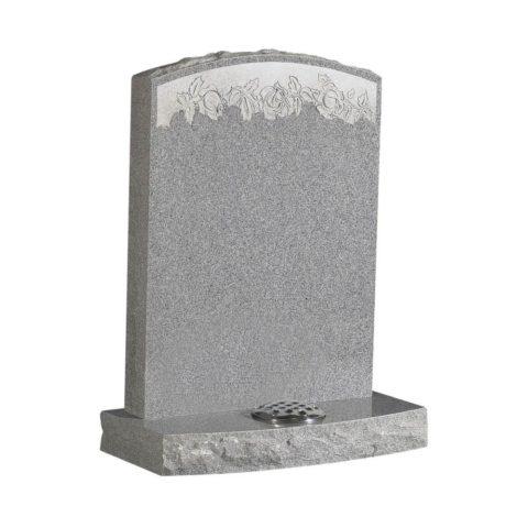 Camber top memorial with rustic edge in Pearl Grey granite.