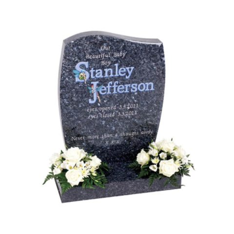 Fairytale images can be combined with any letter to truly personalise your memorial. Stone shown is an Half Ogee with Barrel sides in Blue Pearl granite.