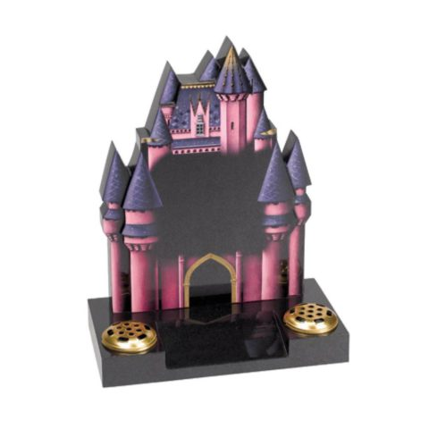 A hand carved Fairytale castle in Black granite.