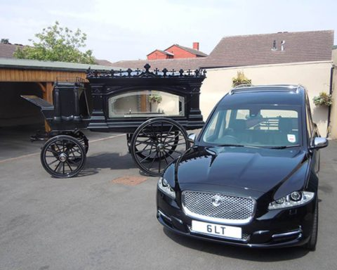 Our luxury Jaguar hearses and limousines have been built to our own specification to offer our clients comfort and practicality whilst retaining the elegance of traditional Funeral vehicles. We are able to supply a choice of Horse drawn Hearse's pulled by a pair or team of four Belgian black or grey horses. Carriages are available in black or white with a choice of plumes.