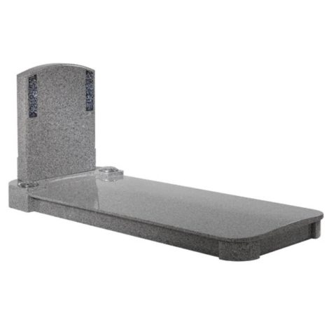 A fully covered kerb memorial with contemporary features shown in Oriental Light Grey granite.