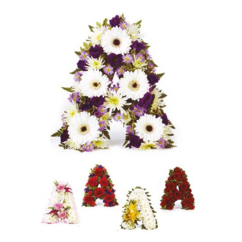 A colourful tribute letter of your choice can be created using a mass of beautiful fresh flowers and foliage.