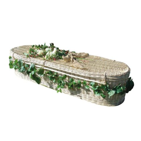 Oval ended light willow coffin with woven handles. Also available in traditional shape.